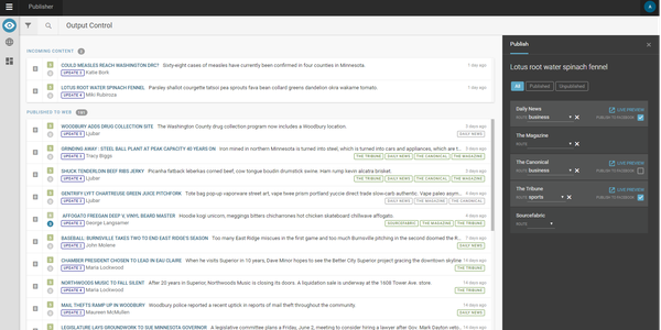 Superdesk Publisher's intuitive dashboard